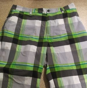 Adidas shorts 32 green gray plaid style mens